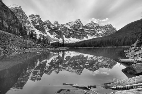 Photograph - Moraine Lake Spring 2018 Sunset Black And White by Adam Jewell