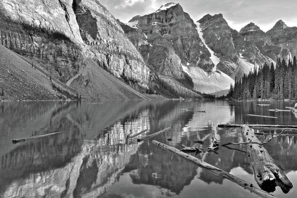 Wall Art - Photograph - Moraine Reflects In Black And White by Frozen in Time Fine Art Photography