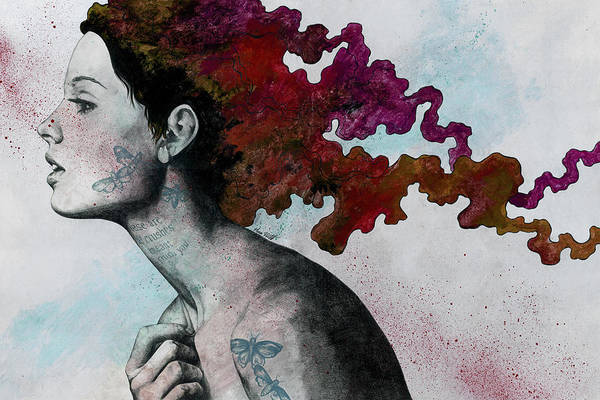 Tattoo Drawing - Moral Red Eclipse - Colorful Hair Woman With Moths Tattoos by Marco Paludet
