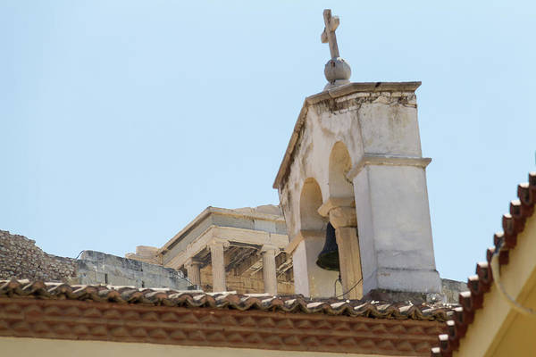 Wall Art - Photograph - More Coexisting History- Church Bell Tower And Acropolis by Iordanis Pallikaras