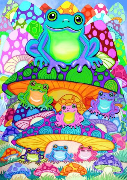 Wall Art - Painting - More Colorful Frogs On Colorful Magic Mushrooms by Nick Gustafson