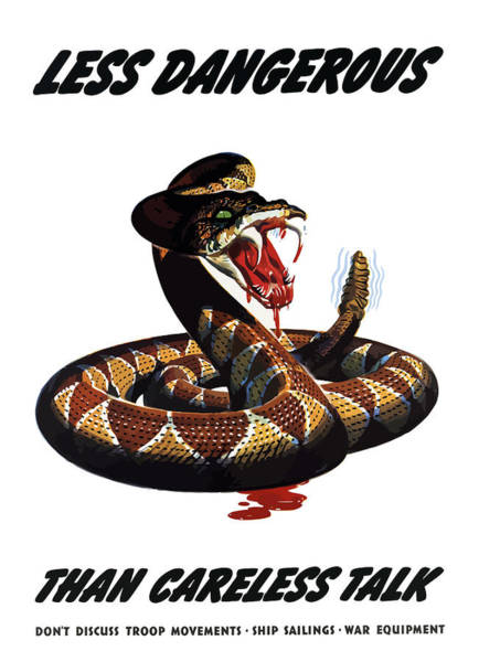 Propaganda Painting - More Dangerous Than A Rattlesnake - Ww2 by War Is Hell Store