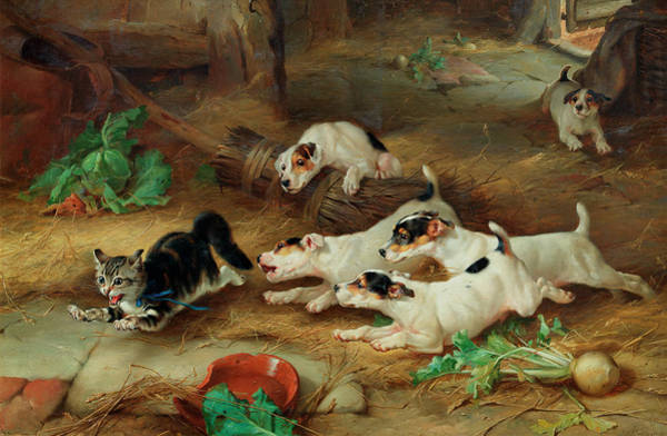 Breeding Painting - More Frightened Than Hurt by Edgar Hunt