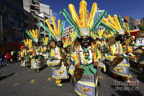 Photograph - Morenada Dancers At Gran Poder Festival by James Brunker
