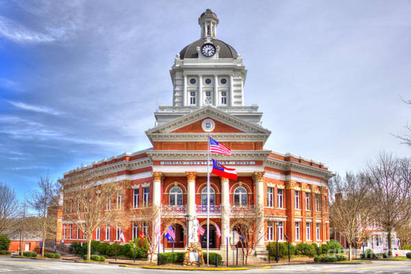 Photograph - Morgan County Court House Flags Waving by Reid Callaway