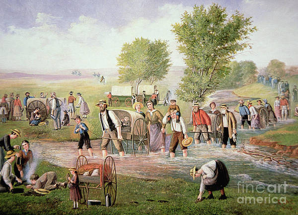 Wall Art - Painting - Mormon Pioneers Pulling Handcarts On The Long Journey To Salt Lake City In 1856 by American School