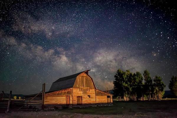 Photograph - Barn Under The Teton Milky Way by Harriet Feagin