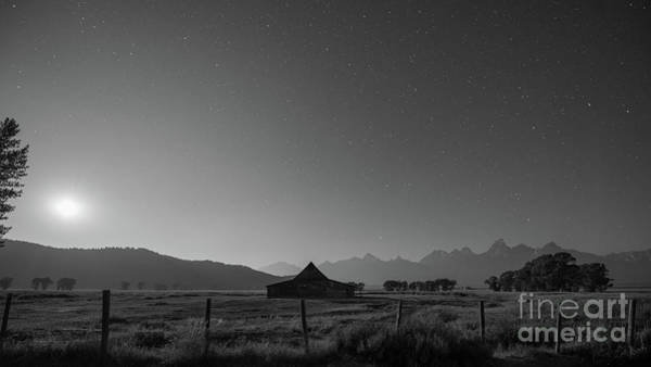 Mv Photograph - Mormon Row Illuminated At Night Bw by Michael Ver Sprill