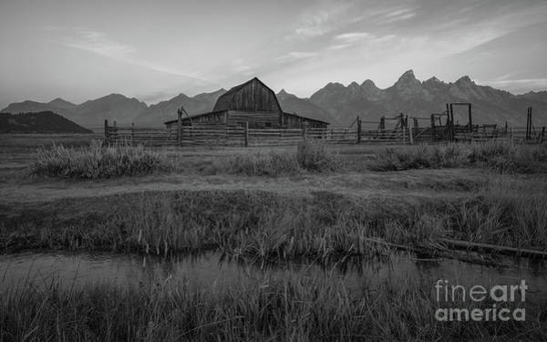 Wall Art - Photograph - Mormon Row Runoff Sunrise 2 Bw by Michael Ver Sprill