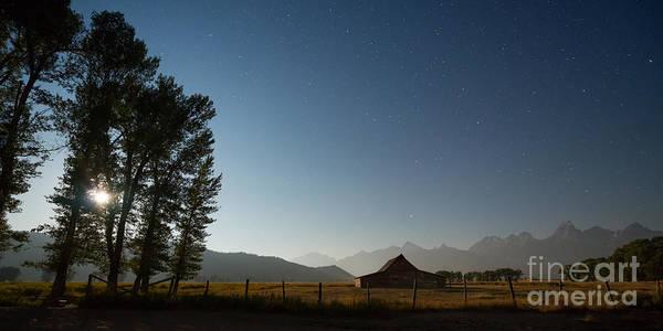 Mormon Photograph - Mormon Row Under The Moon Light by Michael Ver Sprill
