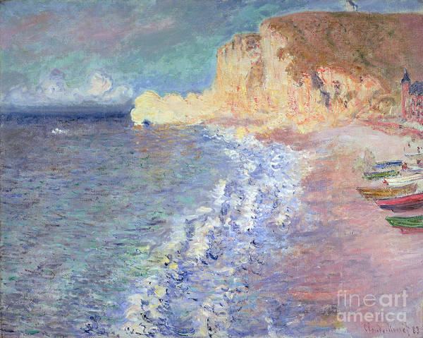 Fishing Boat Painting - Morning At Etretat by Claude Monet
