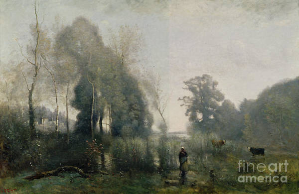 The Shepherdess Wall Art - Painting - Morning At Ville Davray by Jean Baptiste Camille Corot