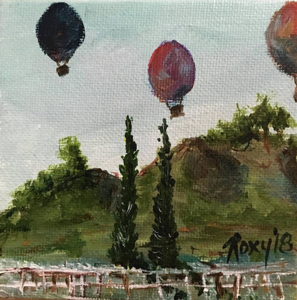 Wine Painting - Morning Balloons by Roxy Rich