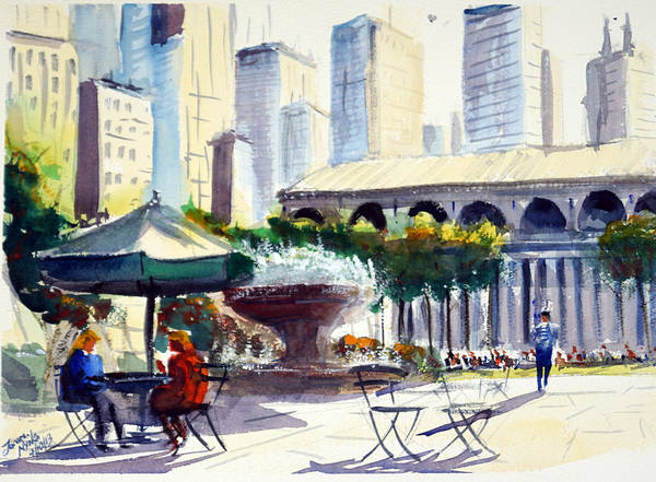 People Watching Painting - Morning, Bryant Park  by James Nyika