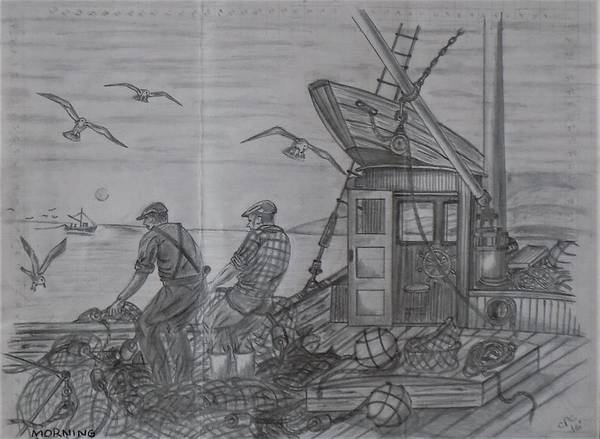 Drawing - Morning Catch by Chuck Caputo