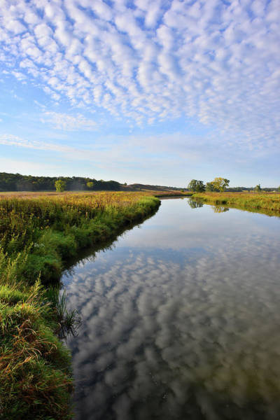 Photograph - Morning Clouds Reflected In Nippersink Creek In Glacial Park by Ray Mathis