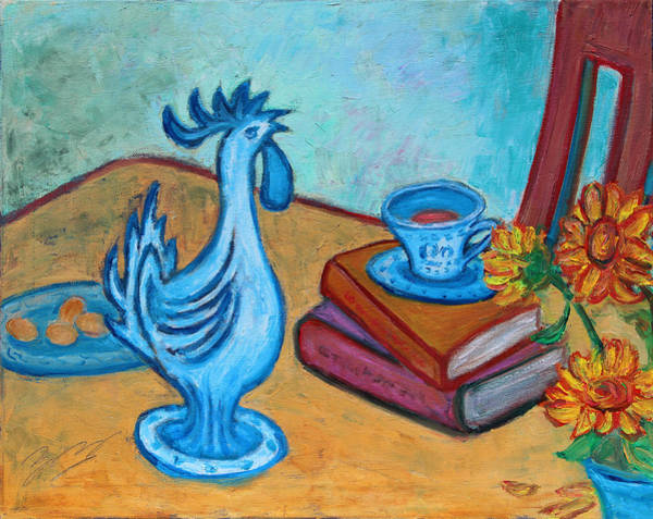 Painting - Morning Coffee Rooster by Xueling Zou