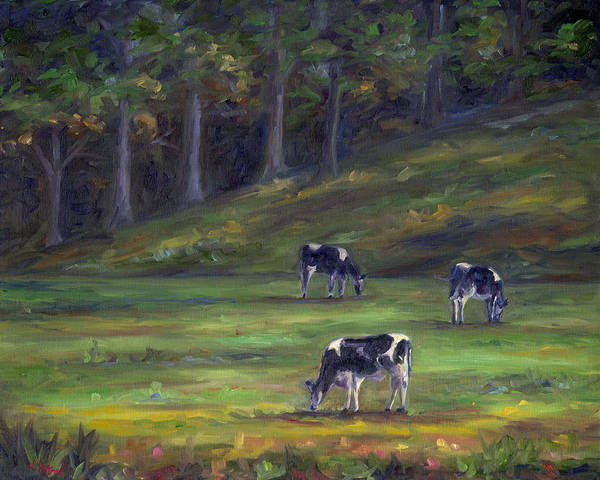 Wall Art - Painting - Morning Cows by Jeff Pittman