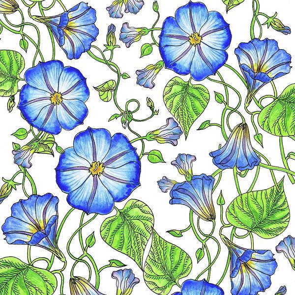 Painting - Morning Glory Watercolor Pattern by Irina Sztukowski