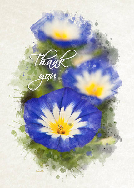Mixed Media - Morning Glory Watercolor Thank You Card by Christina Rollo