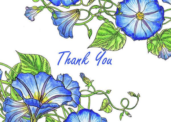 Painting - Morning Glory Watercolor Thank You Card Design by Irina Sztukowski