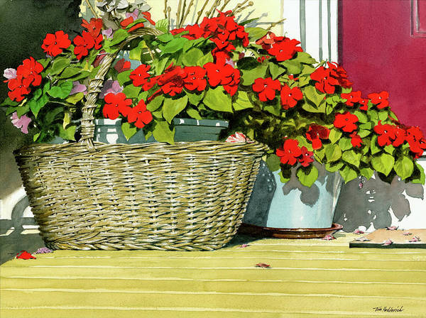 Wall Art - Painting - Morning Impatiens by Tom Hedderich