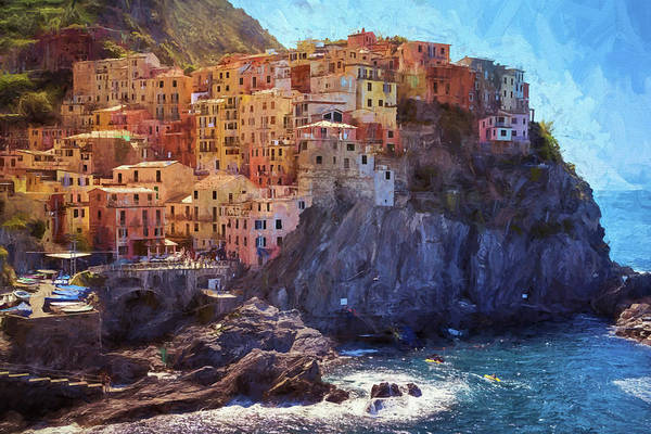 Photograph - Morning In Manarola Cinque Terre Italy Painterly by Joan Carroll