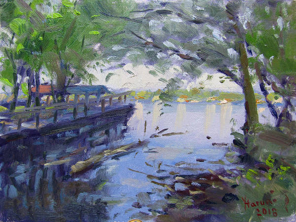 Wall Art - Painting - Morning Light By The River by Ylli Haruni