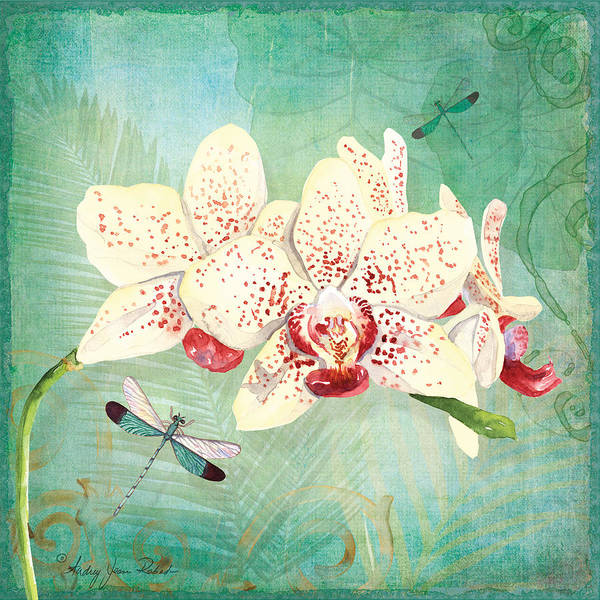 Orchid Painting - Morning Light - Dancing Dragonflies by Audrey Jeanne Roberts