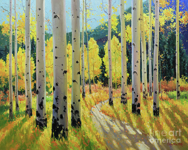 Wall Art - Painting - Morning Lights Of Aspen Trail by Gary Kim