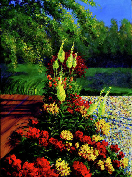 Snapdragons Painting - Morning Marigold by Haley Grebe