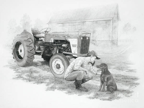 Old Tractor Drawing - Morning On The Farm by Stephen McCall