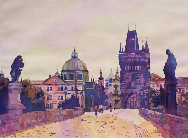 Praha Wall Art - Painting - Morning On The St. Charles Bridge by Jenny Armitage