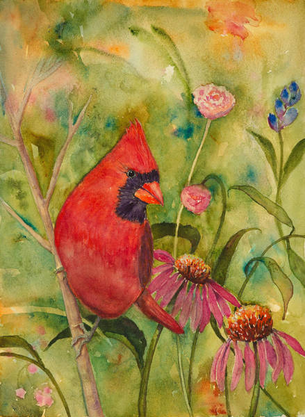 Coneflower Painting - Morning Perch In Red by Renee Chastant