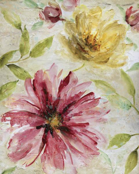 Maroon Painting - Morning Petals 1 by Carol Robinson