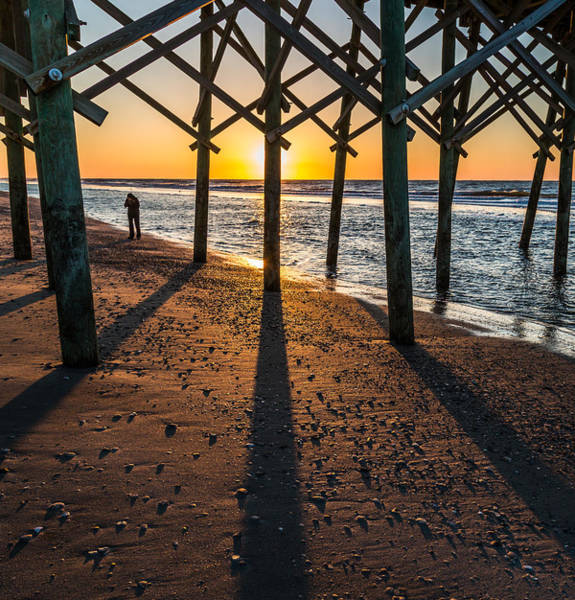 Photograph - Morning Reflection At Folly Beach Pier by Donnie Whitaker