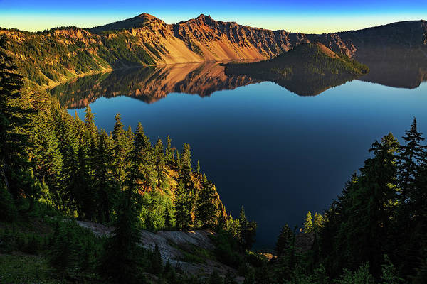 Photograph - Morning Reflection On Crater Lake by John Hight