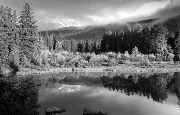 Photograph - Morning Reflections - Black And White - Colorado Landscape by Gregory Ballos