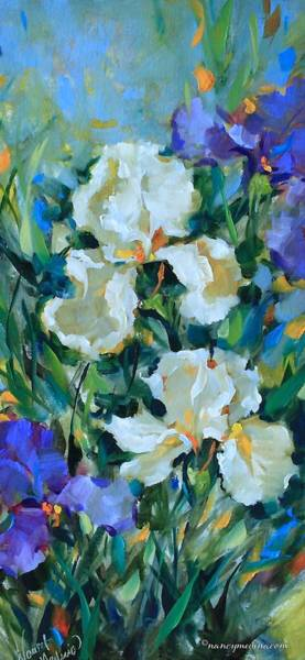 Medina Wall Art - Painting - Morning Reverie White Iris by Nancy Medina