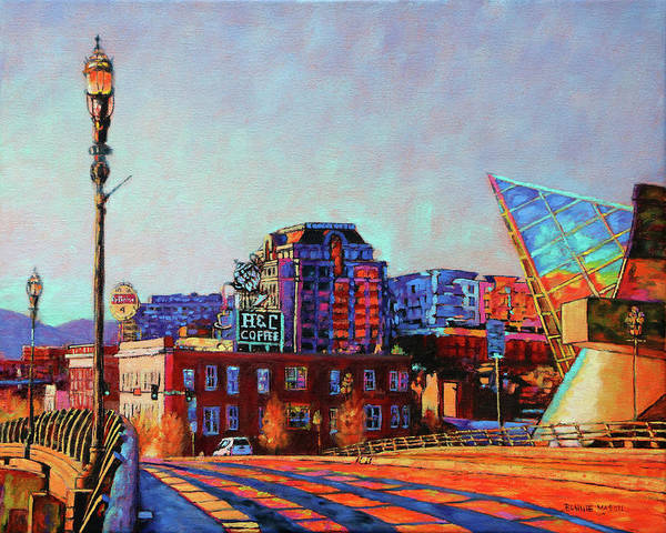 Roanoke Wall Art - Painting - Morning Rush - The Corner Of Salem Avenue And Williamson Road In Roanoke Virginia by Bonnie Mason
