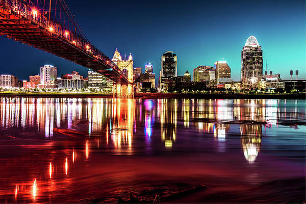 Photograph - Morning Skyline Reflections Of Cincinnati Ohio by Gregory Ballos