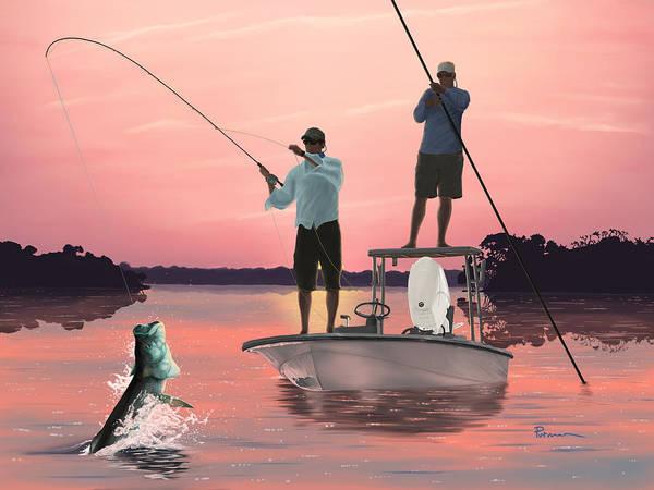 Fishing Digital Art - Morning Strike by Kevin Putman
