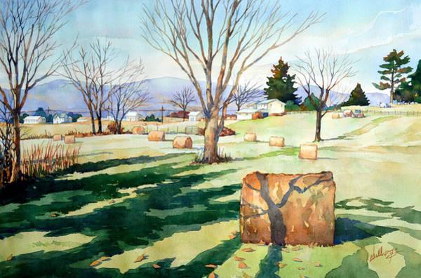 Morning Sun On Haybales Art Print