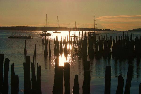 Morning Sunrise Over Bay. Art Print by Dennis Curry