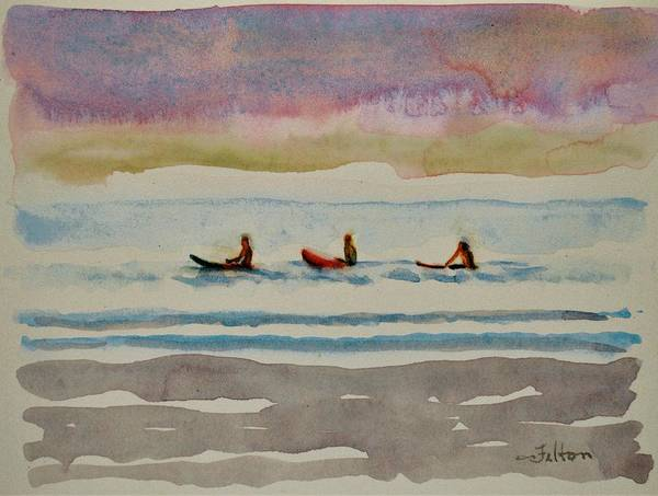 Painting - Morning Surfers 8-16-17 Julianne Felton by Julianne Felton