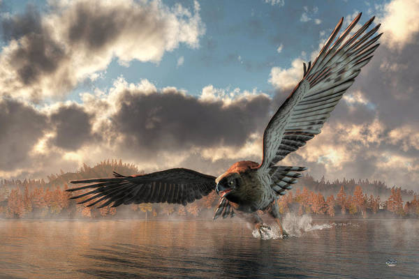 Digital Art - Morning Swim, Eagle Style by Daniel Eskridge