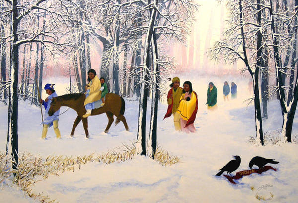 Cherokee Wall Art - Painting - Morning Tears by John Guthrie
