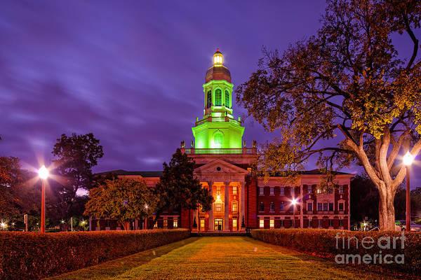 Big Bear Photograph - Morning Twilight Shot Of Pat Neff Hall At Baylor University - Waco Central Texas by Silvio Ligutti