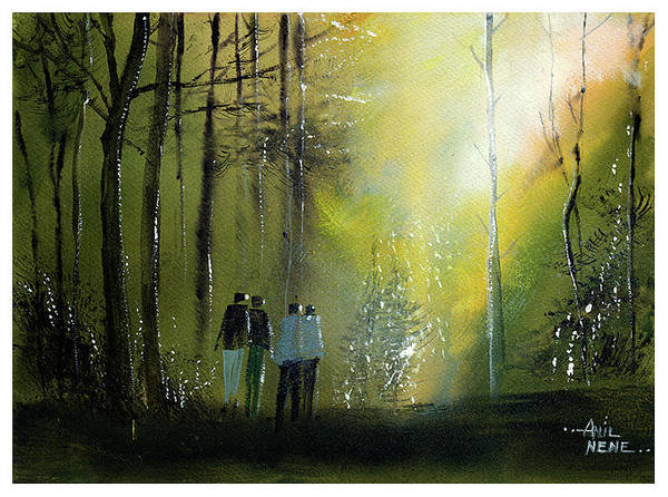 Painting - Morning Walk by Anil Nene