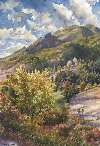 Wall Art - Painting - Morning Walk At Mount Sanitas by Anne Gifford